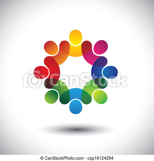 Abstract colorful icons of children or kids in school standing in circle. This vector graphic also represents concept of employees or workers meeting, workers union, executive staff discussions, etc - csp16124294