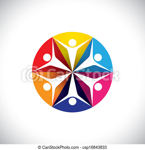 abstract colorful icons of children or kids happy & excited - csp16843833