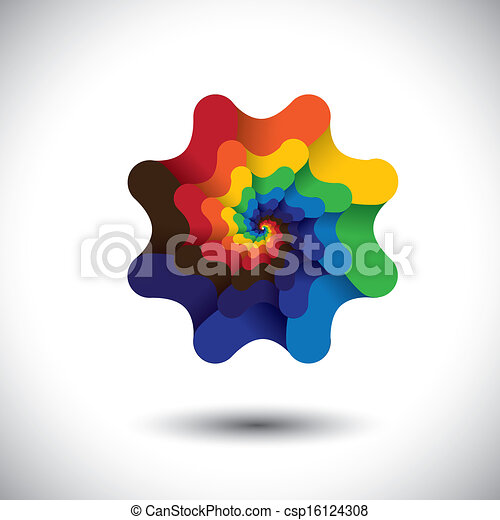 Abstract colorful infinite spiral of bright colors - flower design. Element for design. Vector graphic on white background. Logo design  - csp16124308