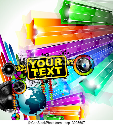 Abstract Colorful Music Event Background With Disk Jockey Shape For