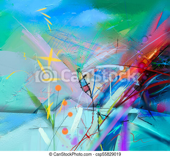 Abstract colorful oil painting on canvas texture