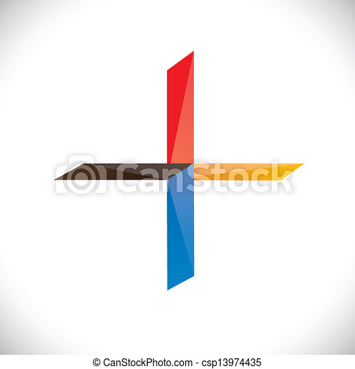 Abstract colorful plus icon or symbol- vector graphic - csp13974435