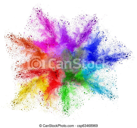 abstract colorful rainbow holi powder color cloud - csp63468969
