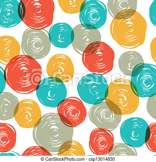 Abstract colorful retro seamless pattern (balls doodles). Vector, EPS10 - csp13014830