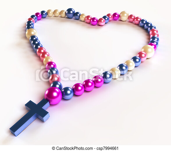 Abstract colorful rosary beads on white - csp7994661