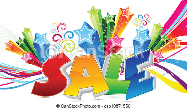 abstract colorful sale text vector  - csp10871550