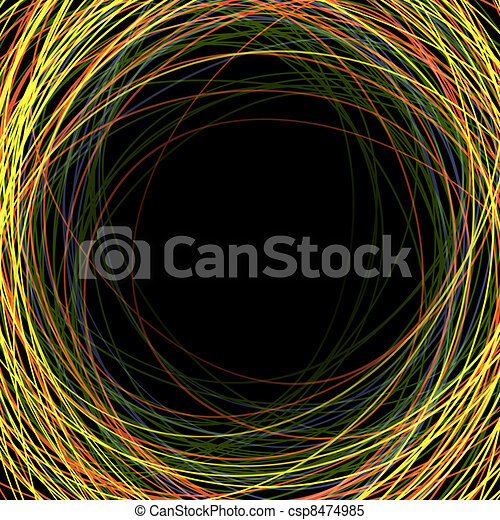 Abstract colorful scribbles on a black background with space for text - csp8474985
