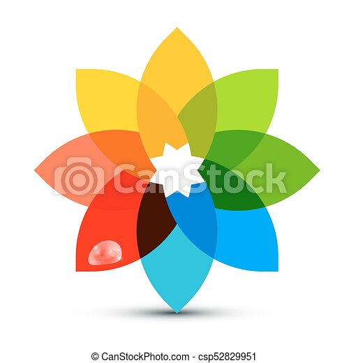 Abstract Colorful Shape. Flower Symbol with Rain Drop for Logo Designs. Vector. - csp52829951