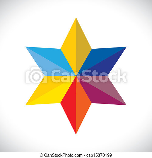 abstract colorful star sign or symbol(icon)- vector graphic. - csp15370199