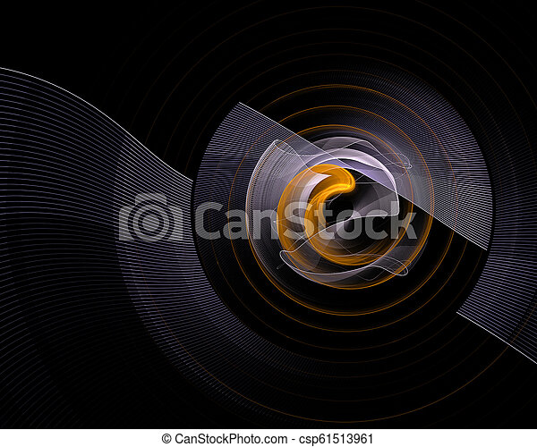 Abstract colorful technology or scientific background, computer-generated image. Fractal backdrop with tech style round and rays. - csp61513961
