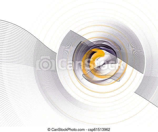 Abstract colorful technology or scientific background, computer-generated image. Fractal backdrop with tech style round and rays. - csp61513962