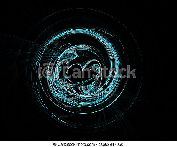 Abstract colorful technology or scientific background, computer-generated image. Fractal backdrop with tech style round and heart. - csp62947058