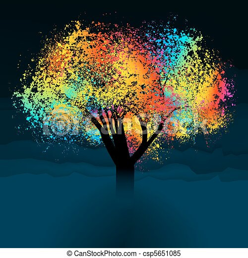 abstract colorful tree with copy space eps 8 vector file included rh canstockphoto com Rocket Clip Art Space Stars