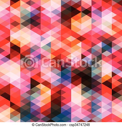Abstract colorful triangles pattern background - csp34747248