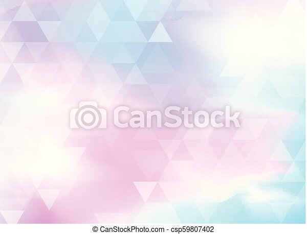 Abstract colorful triangles pattern on holographic foil background. - csp59807402