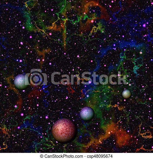 Abstract colorful universe with planets, Multicolor glittering outer space,  Shiny night starry sky, Seamless illustration