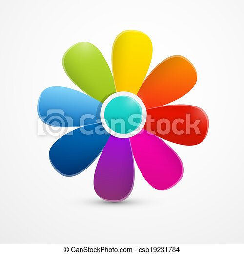 Abstract Colorful Vector Flower Illustration Isolated on White Background  - csp19231784