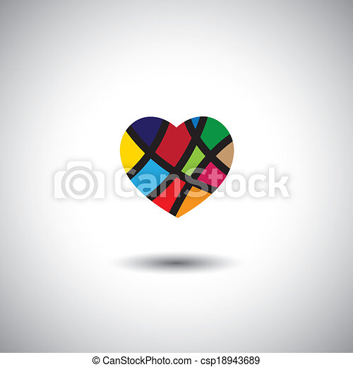 abstract colorful vector heart icon - csp18943689
