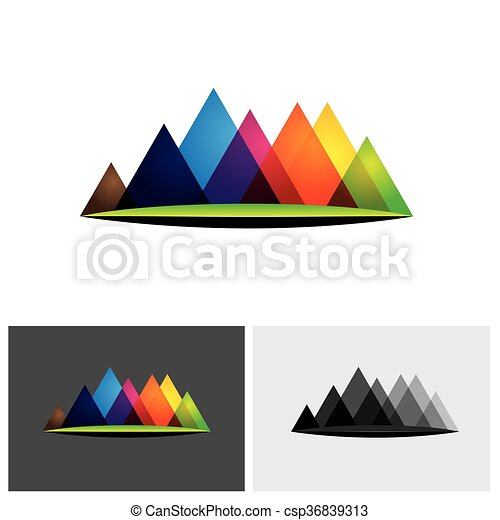 abstract colorful vector logo icon of hills & mountain ranges & grassland - csp36839313