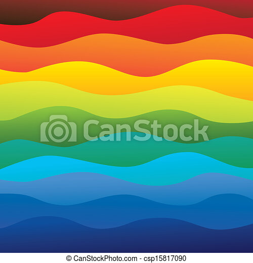 abstract colorful & vibrant water waves of ocean background (backdrop) - vector graphic. This illustration contains layers smooth layers of water waves in rainbow spectrum colors - csp15817090