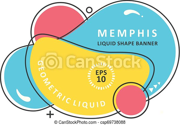 Abstract colorful waves. Modern vector template. Memphis Liquid shape. Mosaic amoeba design - csp69738088