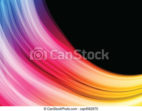 Abstract Colorful Waves on Black Background - csp4562970