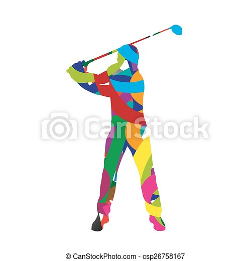 Abstract colorfull golf player - csp26758167