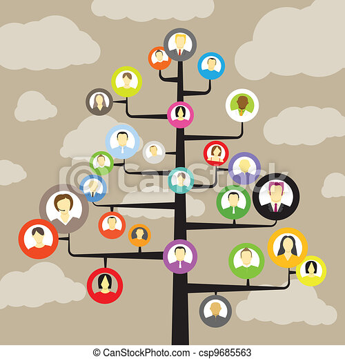 Abstract community tree with avatars of members - csp9685563