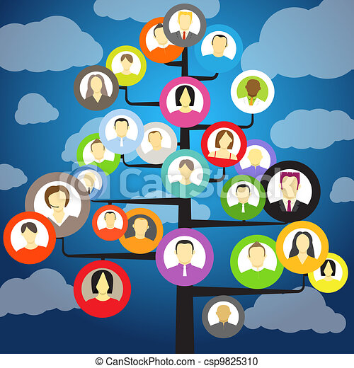 Abstract community tree with avatars of members - csp9825310