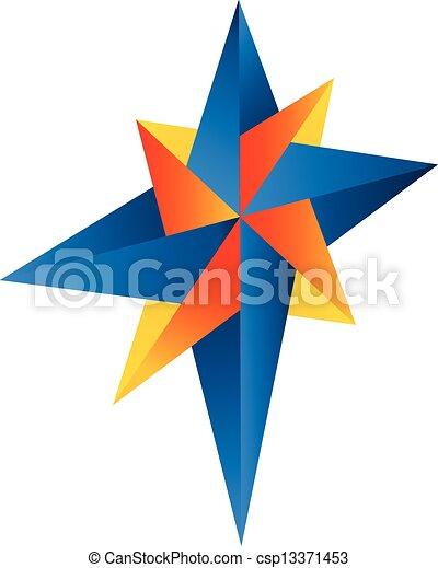 Abstract compass rose logo vector  - csp13371453