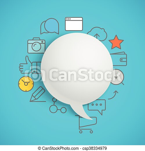 Abstract composition of speech cloud with modern media icons - csp38334979
