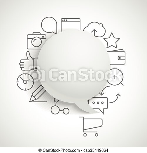 Abstract composition of speech clouds with modern media icons - csp35449864