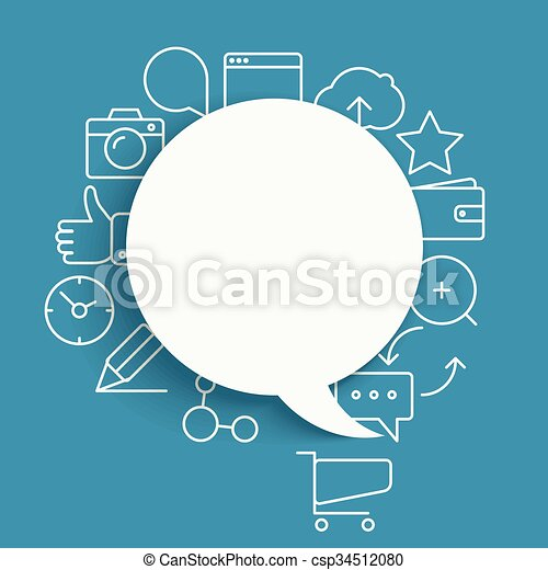 Abstract composition of speech clouds with modern media icons - csp34512080