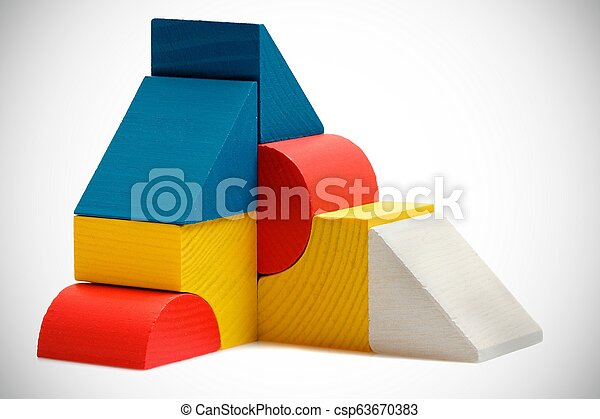 abstract composition of wooden blocks on white - csp63670383