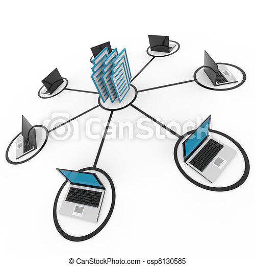 Abstract computer network with laptops and archive or database. - csp8130585