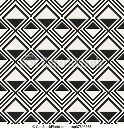 Abstract concept monochrome geometric pattern. Black and white minimal background. Creative illustration template. Seamless stylish texture. For wallpaper, surface, web design, textile, decor. - csp67893355