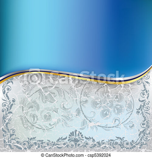 abstract cracked blue floral ornament on a white background - csp5392024