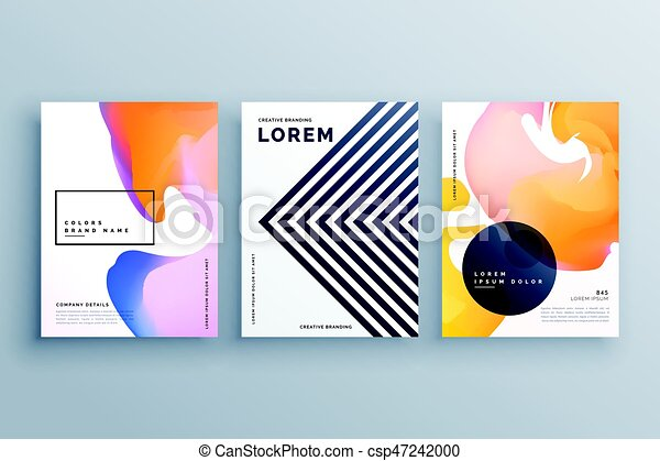 abstract creative brochure design template set made with lines and