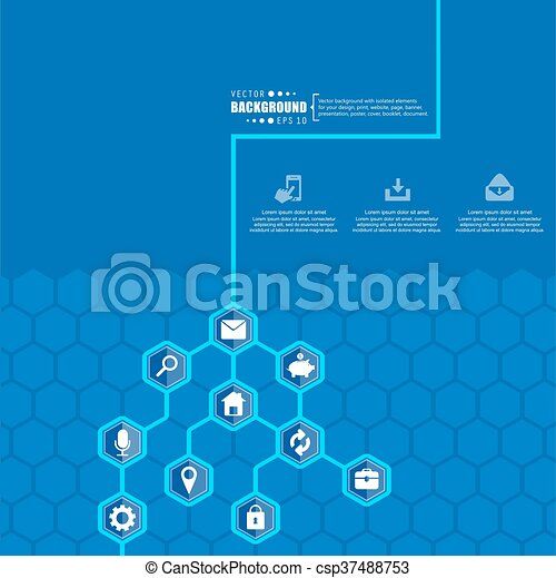 Abstract creative concept vector hexagon network with icon isolated ...