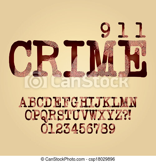 Abstract Criminal Alphabet and Digit Vector - csp18029896