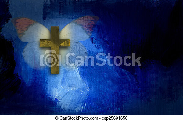 Abstract cross and butterfly wings - csp25691650