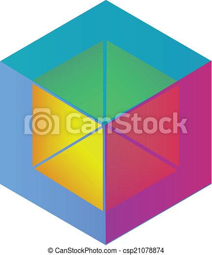 Abstract cube logo vector - csp21078874