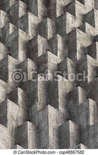 Abstract cube protusions on cement - csp48867582