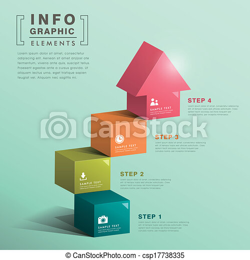 abstract cube stair with house infographics - csp17738335