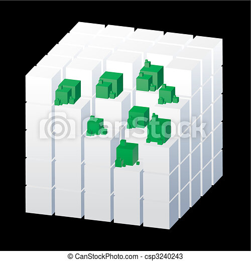 Abstract cubes isolated on the black background with green parts, vector illustration - csp3240243