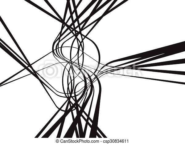 abstract curved waves background black and white - csp30834611