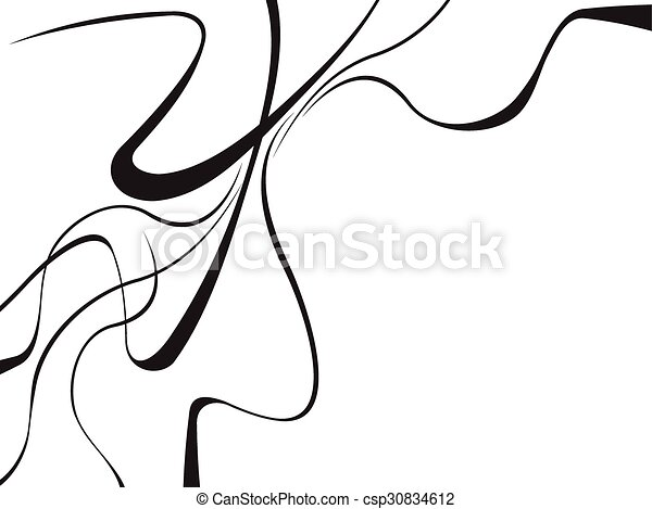 abstract curved waves background black and white - csp30834612