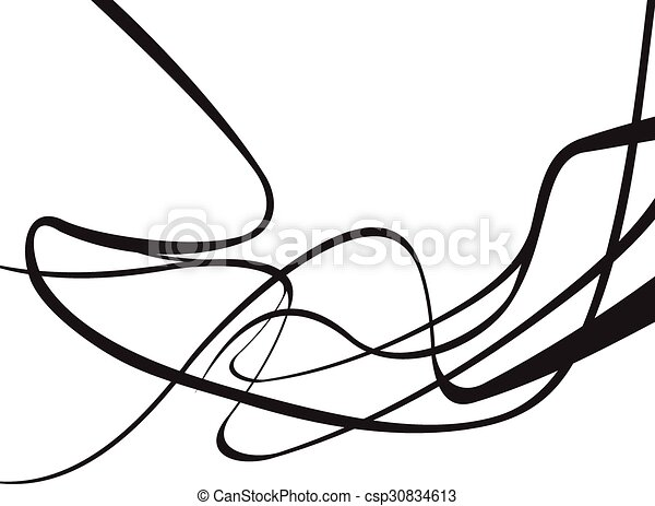 abstract curved waves background black and white - csp30834613