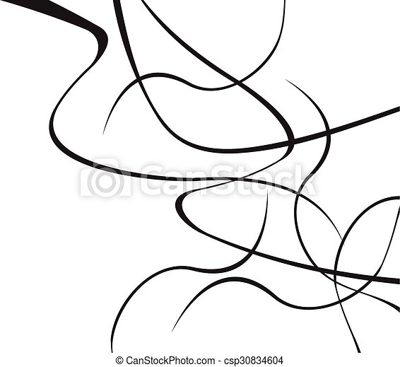abstract curved waves background black and white - csp30834604