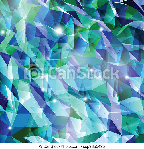 Abstract cyan background. Combination of triangle. Vector - csp9355495